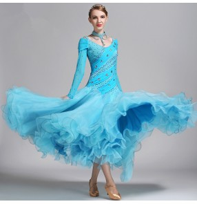 Turquoise Blue Colored Long Length Womenu0027s Girls Competition Professional  Performance Luxury Ballroom Tango Waltz Dance Dresses