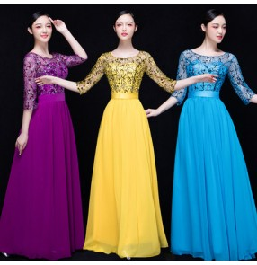 Turquoise blue purple violet yellow gold sequins middle long sleeves fashion long  length women's singers stage performance party cos play evening dresses outfits