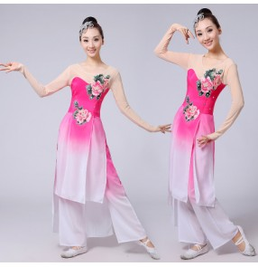Turquoise green fuchsia hot pink gradient colored Women's girls Chinese yangko folk fan fairy traditional dancing dance costumes outfits