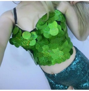 Turquoise sky blue gold green sequins paillette fashion sexy hot dance girls women's night club stage performance party cosplay jazz singer dance tops vests