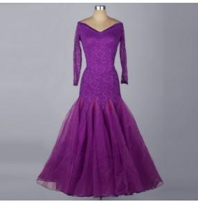 Turquoise violet purple royal blue black white fuchsia lace long sleeves long length competition contest women's waltz tango ballroom dance dresses
