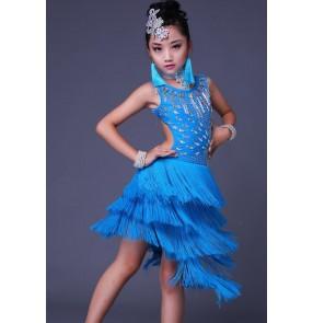 Turquoise white fringes tassels handmade rhinestones girls kids children competition performance latin salsa dance dresses costumes