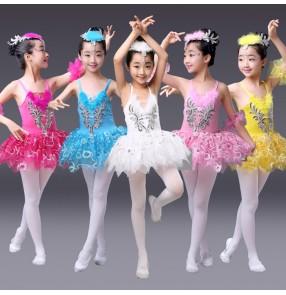 Turquoise white yellow gold light pink fuchsia lace tutu skirt girls kids children baby modern dance gymnastics ballet swan lake dancing dresses