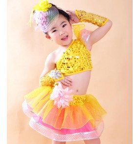 Turquoise yellow gold rainbow colored girls kids children sequins modern dance jazz party dancing dresses outfits
