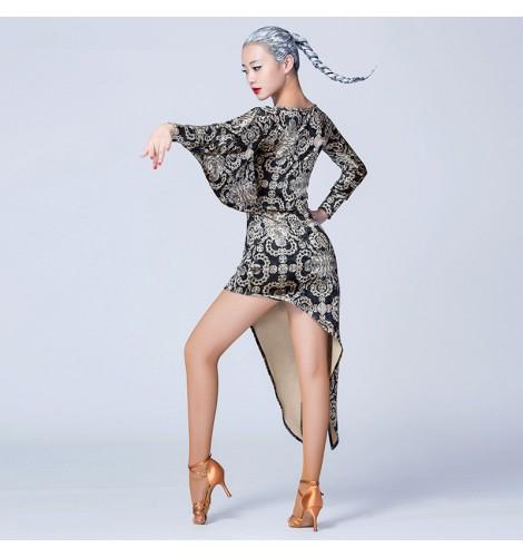 c0d6b58072b00 Velvet European floral printed black long bat wing sleeves round neck  competition women s ladies performance professional latin salsa cha cha  dance dresses ...