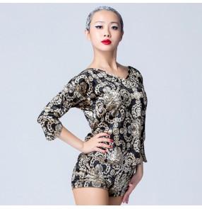 Velvet gold black European pattern Long sleeves women's ladies  fashion competition professional ballroom latin salsa dance tops blouses
