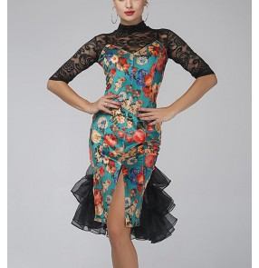 Velvet Green floral printed black lace patchwork turtle neck  middle sleeves women's ladies competition professional latin salsa cha cha dance dresses