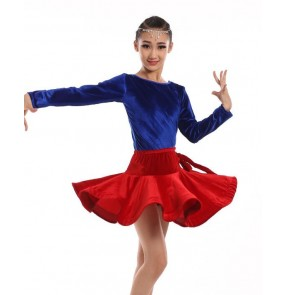 Velvet long sleeves red royal blue fuchsia black leopard patchwork girls kids children growth performance latin salsa dance dresses outfits