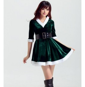 Velvet red  dark green half sleeves with white ribbon v neck hoodies girls women's cosplay party stage performance dancing Christmas santa claus dresses