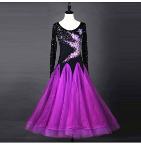 Violet big skirted rhinestones embroidery flowers competition performance long length women's ballroom dresses