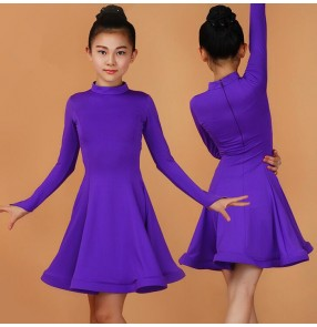 Violet light purple royal blue fuchsia hot pink black red mint green long sleeves turtle neck girls kids children growth competition Latin ballroom dance dresses outfits