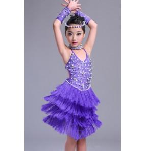 Violet purple beaded rhinestones handmade competition fringes girls latin dance dresses costumes