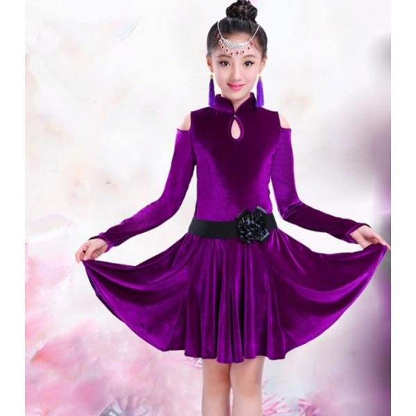99c539f4c Violet purple black royal blue velvet long sleeves turtle neck competition  stage performance girls children kids latin salsa dance dresses