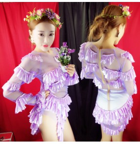 Violet purple mesh ruffles patchwork sexy fashion women's jazz singer dancers cosplay contest competition performance outfits leotards