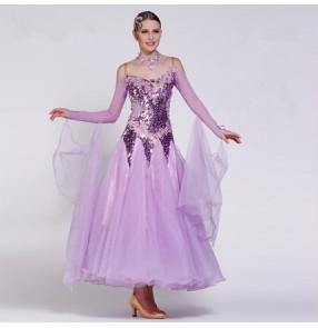 Violet purple red rhinestones glitter shiny luxury handmade custom size competition women's girls performance contest ballroom tango waltz dancing long dresses