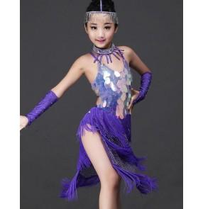 Violet purple rhinestones diamond handmade luxury competition girls kids children baby contest school dance crew fringes latin dance dresses