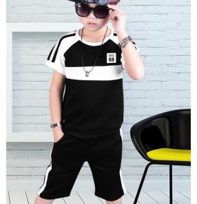 White and black patchwork short sleeves fashion competition modern dance sports boys kids hip hop jazz dancing outfits