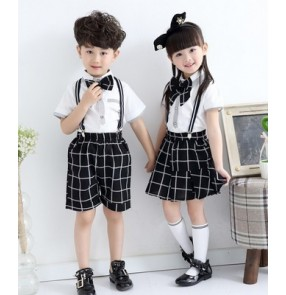 White and black plaid printed  England style girls boys kids children kindergarten stage performance chorus school play outfits costumes