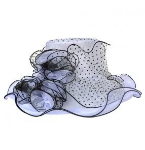 White and black polka dot fashion floppy large brim organza women's female wedding bridal evening dress competition race church sun hats