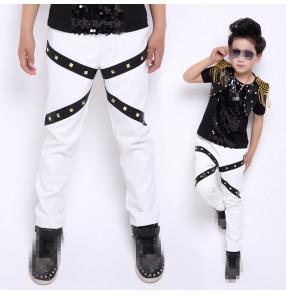 White and black rivet leather boys kids children fashion competition school performance hip hop jazz  singer drummer dancing pants trousers