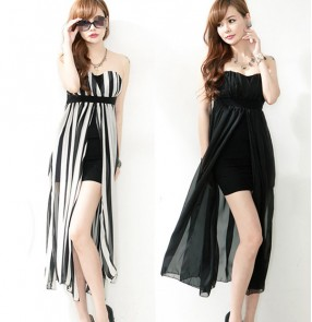 White and black Striped jazz dance dress ds dance costume dresses