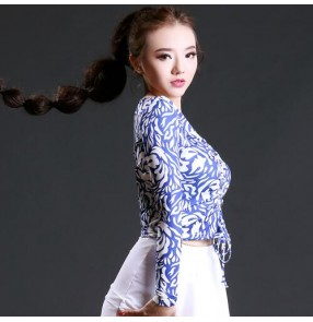 White and blue printed black long sleeves front lace women's ladies competition performance ballroom latin salsa dance tops blouses
