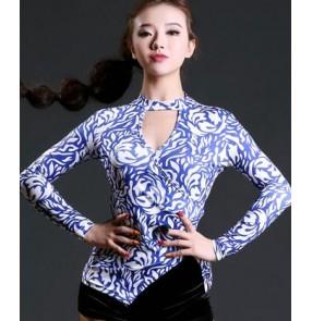 White and blue printed fashion black sexy fashion women's girls competition performance latin salsa cha cha dance tops