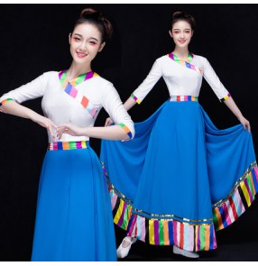 White and blue rainbow colored patchwork women's middle long sleeves competition singer traditional cosplay performance folk modern dancing long dresses outfits