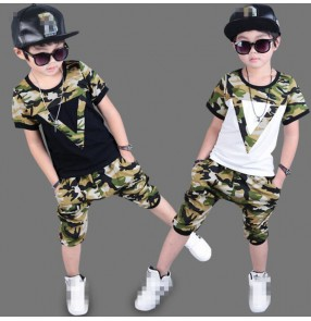 White black camouflage patchwork short sleeves boy kids children school competition performance hip hop dance costumes outfits