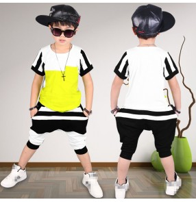 White black green patchwork striped fashion boys kids children performance hip hop sports dance costumes outfits