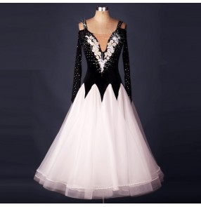 White black patchwork long length embroidery pattern v neck long sleeves competition women's ballroom tango waltz dancing dresses outfits dancewear