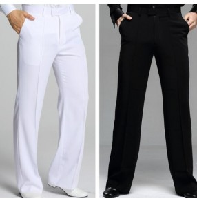 White black plus size straight men's male competition performance professional ballroom tango latin dancing long pants trousers with pocket