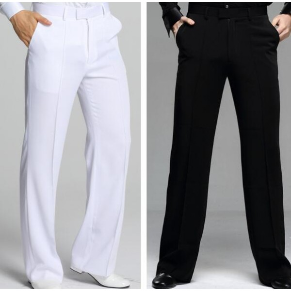 a1c0d3392 White black plus size straight men's male competition performance  professional ballroom tango latin dancing long pants trousers with pocket