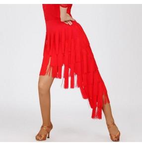 White Black red fringes irregular hem long length irregular hem fashion women's ladies competition performance latin salsa cha cha dance leotards skirts