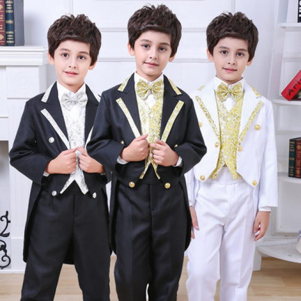 White black with gold pattern boys kids children school cos play ...