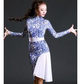 White blue printed patchwork black sexy fashion girls women's sexy competition samba salsa cha cha latin dance dresses costumes