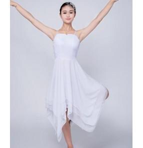 White chiffon long length modern dance women's adult gymnastics performance competition ballet dance dresses clothes