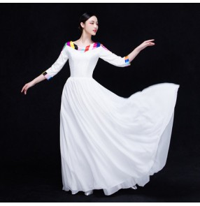 White colored with rainbow striped back and cuffs patchwork women's  modern dancing cosplay party stage performance dancing dresses outfits