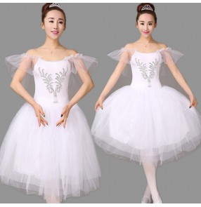 White embroidery rhinestone modern dance performance competition women's swan lake ballet dance dresses costumes