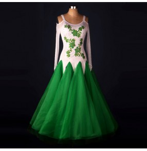White green patchwork embroidery pattern diamond long sleeves competition women's ladies stage performance ballroom tango waltz dance long length dresses
