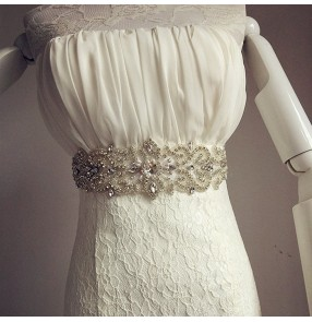 White ivory wine red silver black crystal rhinestones beaded brides wedding evening dress ribbon waist band belt sashes