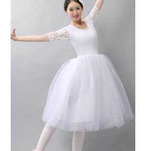 White lace half sleeves tutu skirted women's adult modern dance performance competition ballet dance dresses costumes