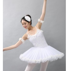 White lace tutu skirted women's adult modern dance gymnastics competition performance ballet dance dresses costumes