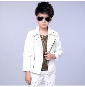 White lapel collar rivet  boy kids children fashion modern dance school competition jazz singer drummer magician hip hop dancing jackets coats