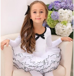 White light pink cotton princess long sleeves girls kids children gymnastics swan lake tutu skirt ballet dance leotards dresses