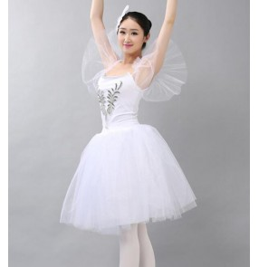 White light pink women's ladies long length modern dance cosplay performance competition tutu ballet dancing dresses costumes