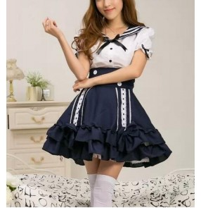 White navy blue patchwork girls japanese style women's frock sexy ladies party cos play bar club princess evening dancing stage performance dancers dresses outfits