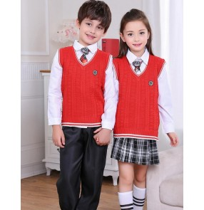 White red navy blue England style girls kids children boys school play stage performance recite chorus dancing dresses outfits uniforms