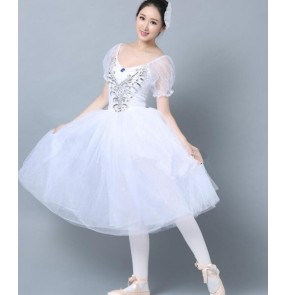 White short puff sleeves competition modern dance performance cosplay women's ladies tutu skirted adult ballet gymnastics dresses