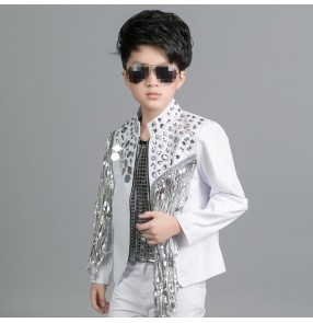 White silver lens sequins fringes fashion boys kids children baby competition drummer performance hip hop jazz dancing jackets coats